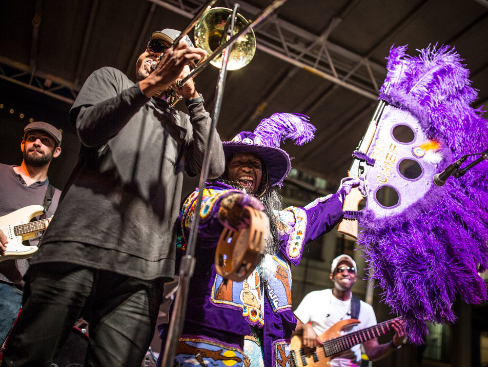 One of my favorite people around, Big Chief Juan Pardo, always knows where I will be without missing a beat. In the back row is another friend Danny Abel on guitar, and in front on trombone - bandleader Corey Henry.