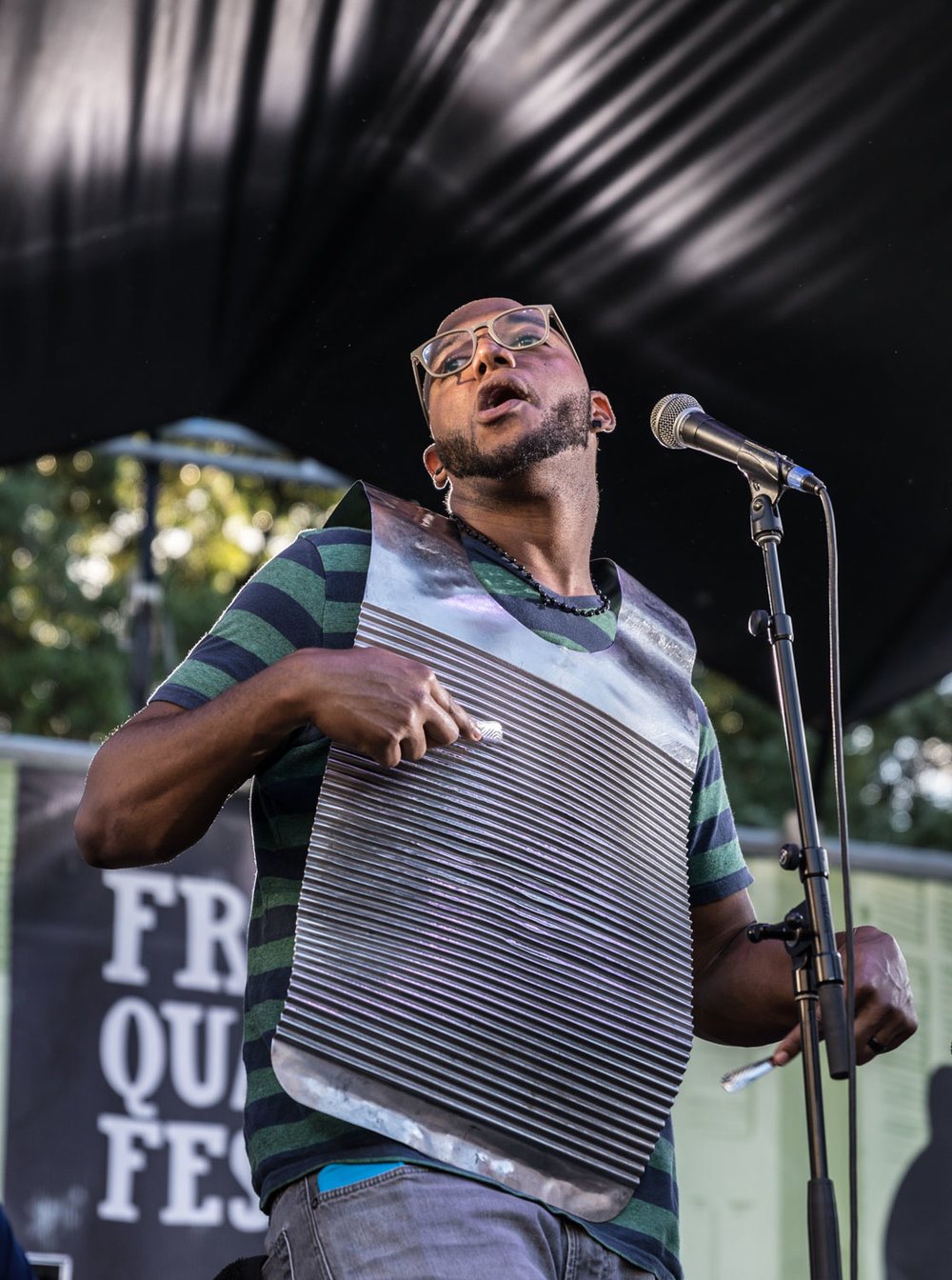Washboard player Jayme Romain for Corey Ledet's band had some unreal pipes as well as rhythm!