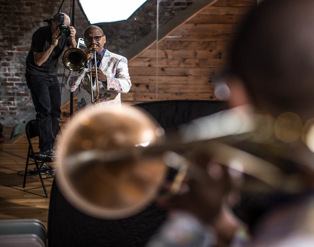 Zack photographing Delfeayo Marsalis in 2017. Come behind the scenes of focal length and learn to see like the camera!
