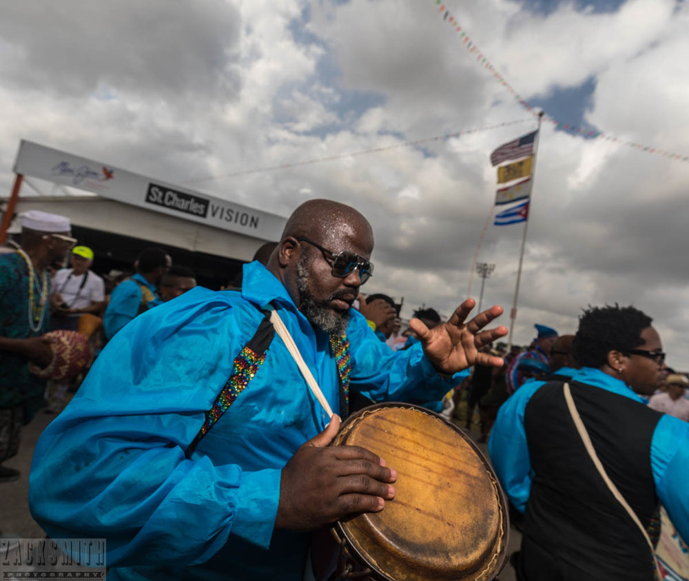 Visiting country Cuba brought many musicians to Jazz Fest, Conga Los Hoyos was an amazing percussion group that played and marched many times.
