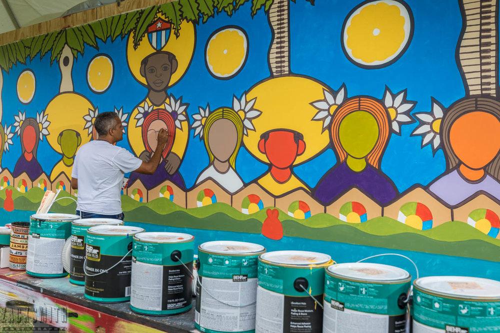 Roberto Guerra Hechaverria continues his mural...