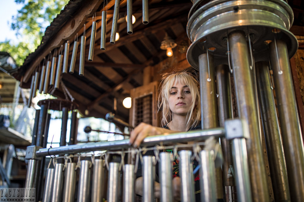 Tiff Lamson of GIVERS performs with Mike Dillon's New Orleans Punk Rock Percussion Consortium (MDsNOPRPC) at The New Orleans Airlift's Music Box Village.