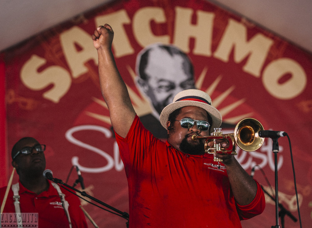 Desmond Venable of the Red Wolf Brass Band performs at 2017 Satchmo Fest at the U.S. Mint.