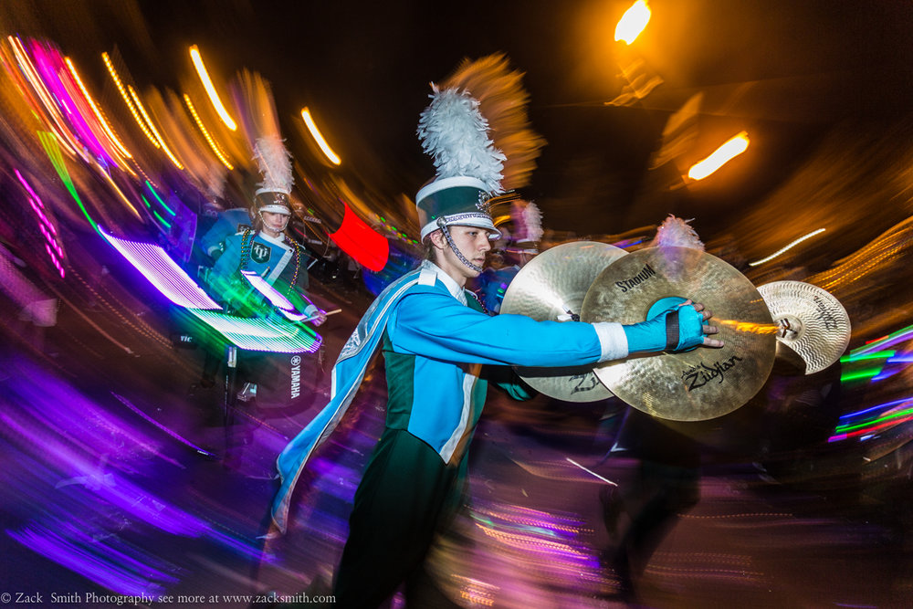 I used a flash for this long exposure photograph while marching with the Tulane Green Wave Brass Band during Mardi Gras!