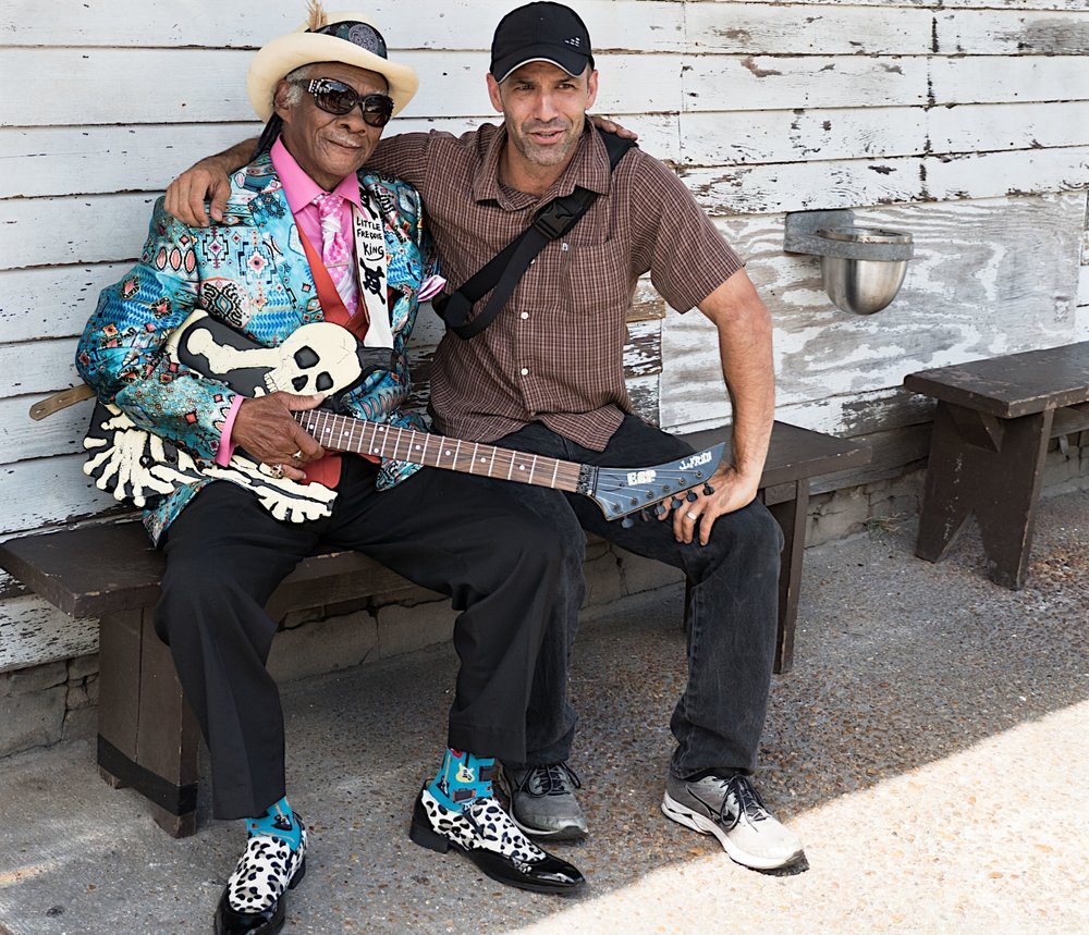 Zack Smith with blues legend Little Freddie King, BJ's bar in New Orleans. Photo by participant David Altschul.