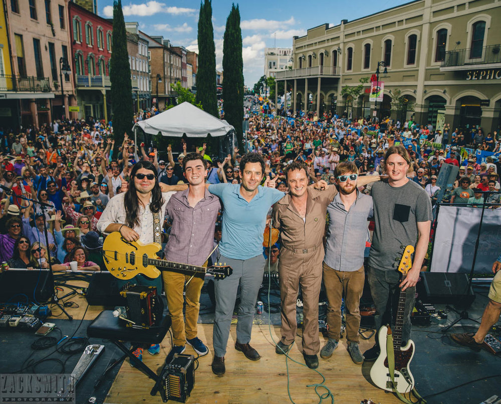 Lost Bayou Ramblers pose for our annual family photo with crowd at FQF2018. ©ZSP