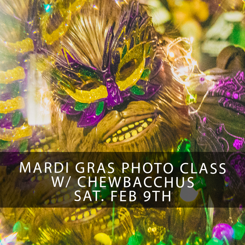 Mardi Gras Photography Workshop New Orleans - Join Zack behind the scenes as we march and photograph one of the most creative and Out of This World Mardi Gras Krewes.. Chewbacchus! Learn low light photography techniques to shoot people, parades, and the party in downtown New Orleans! Sign up now!