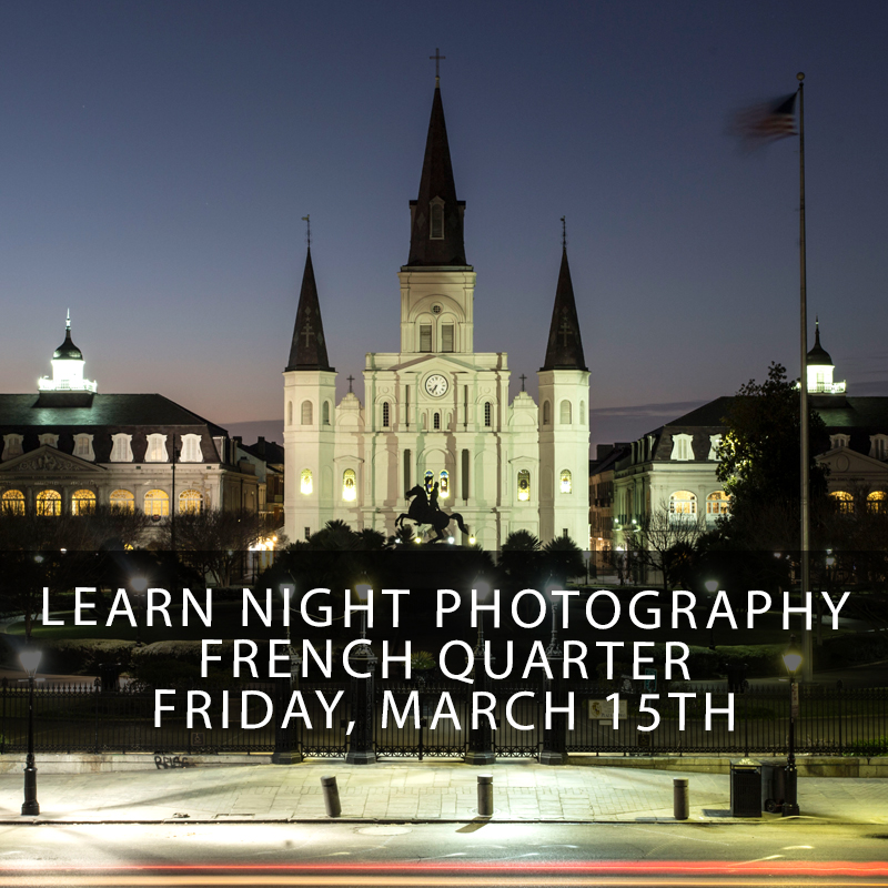 New Orleans Night Photography Workshop - This hands-on photography workshop is the only class you will need to learn the ropes shooting the beautiful soft light of a Crescent City summer night! Long time New Orleans photographer and instructor Zack Smith will teach you how to get the most out of your camera as a beginner or advanced shooter!