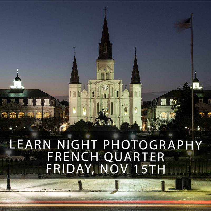 New Orleans Night Photography Workshop Fall - This hands-on photography workshop is the only class you will need to learn the ropes shooting the beautiful soft light of a Crescent City summer night! Long time New Orleans photographer and instructor Zack Smith will teach you how to get the most out of your camera wether you are a beginner or are an advanced shooter looking to gain more knowledge of shooting in low light conditions. This class fills up very quick as spaces are limited and kept small.