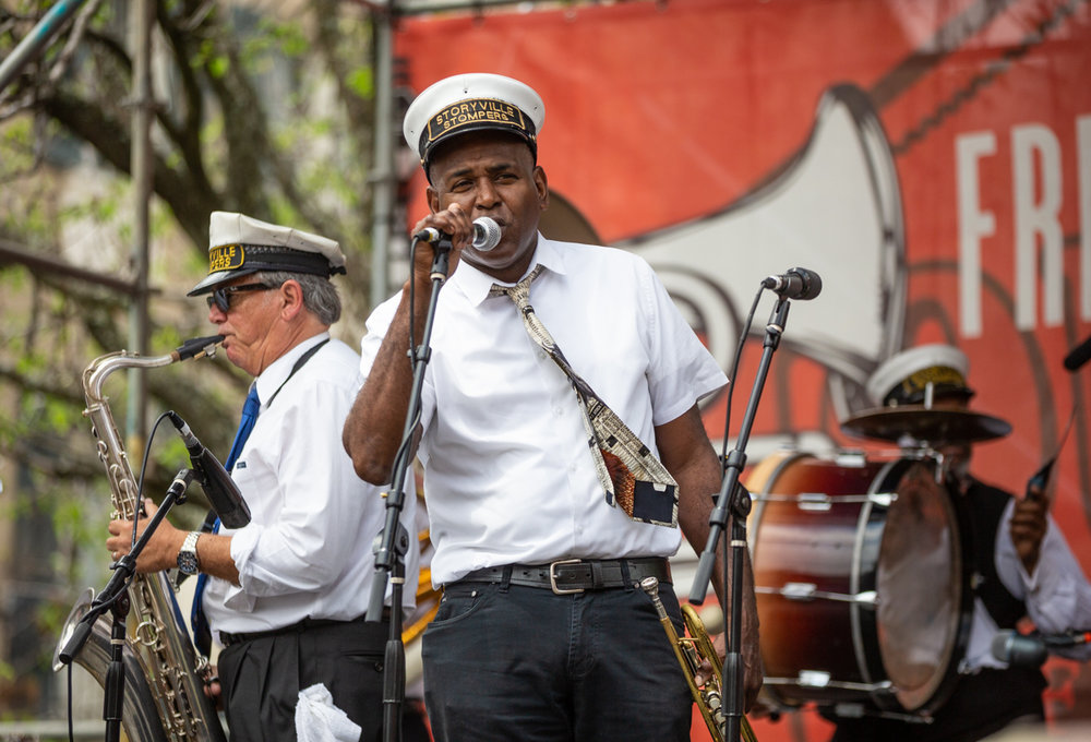 Will Smith serenades with the Storyville Stompers Brass Band. ©Zack Smith Photography