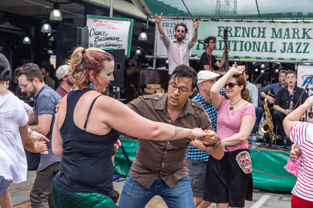 Chance Bushman and the Ibervillianaires had the swing dancers swinging early at the Traditional Jazz Stage. ©Zack Smith Photography