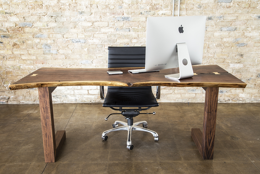 Walnut Slab Executive Desk