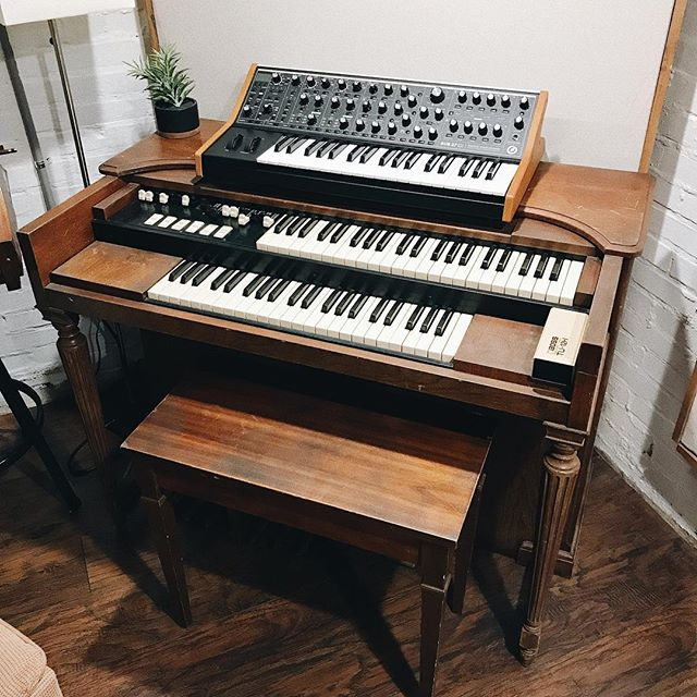 Very excited about today's work! Vintage Hammond organ, modern @moogsynthesizers sub37. Let's get weird!!!! . . . . #recordingstudio #musicgear #gearporn #synth #musicproducer #organ #tinytaperoom #moog #gear #vsco