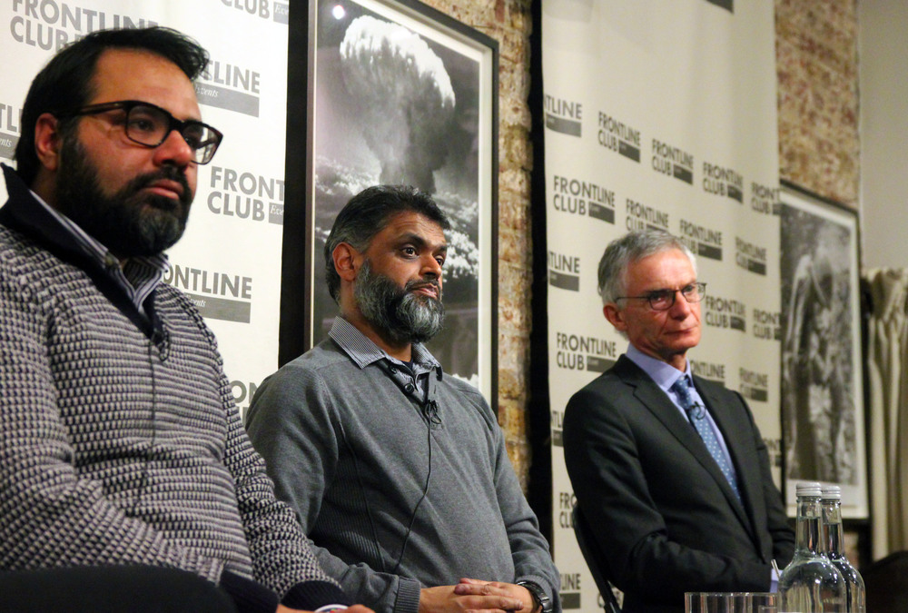 (l-r) Shiraz Maher, Moazzam Begg and Richard Barrett