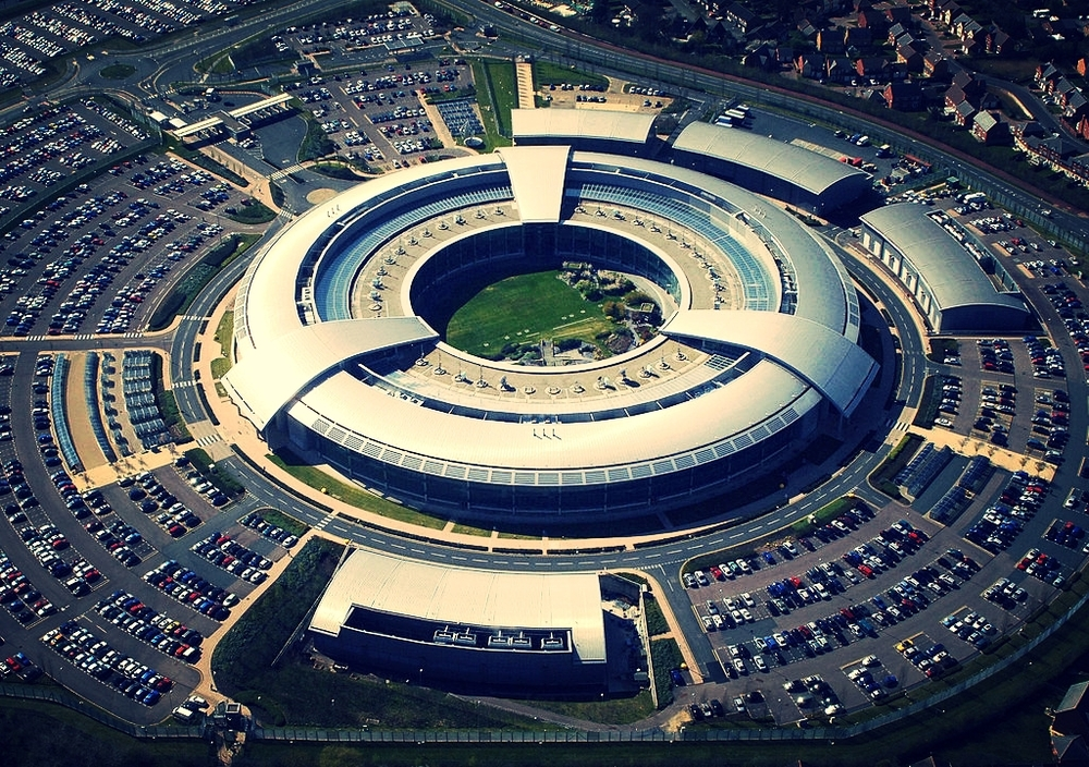 An aerial image of the Government Communications Headquarters (GCHQ) in Cheltenham, Gloucestershire. Credit: Ministry of Defence