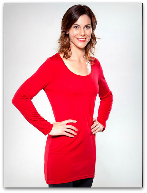 Womens Scoop Tunic Red