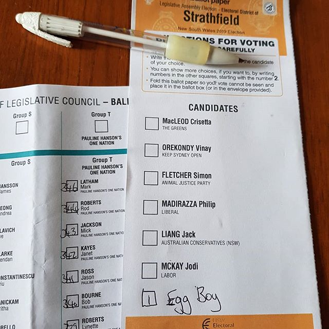 NSW friends, do the right thing next weekend.  I voted #eggboy. You should too.