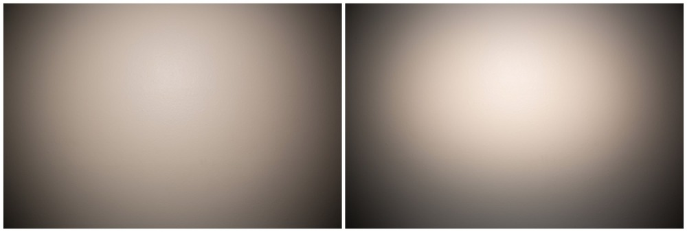 Left:  Lens - 24mm : Flash - 24mm (light is more widely spread across the wall and softer)  Right:  Lens - 24mm : Flash - 105mm (light is more condensed and stronger)