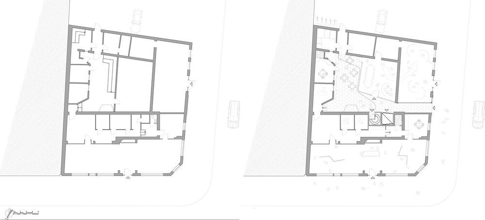 ground floor existing                                                    ground floor proposed