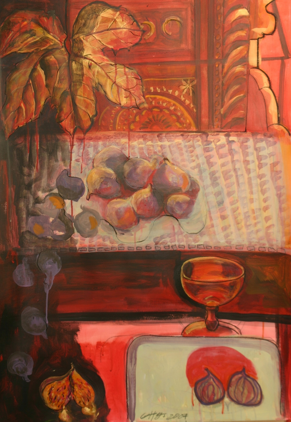 STUDY WITH FIGS   acrylic on paper, 60x85cm