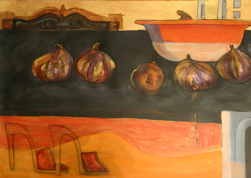 FIGS AND HEELS   acrylic on paper, 85x60cm