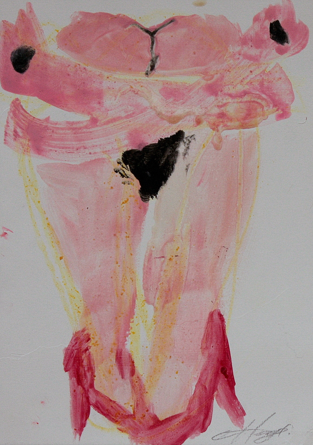 PINK CRUCIFIXION   oil on paper, 12.5x17.5cm