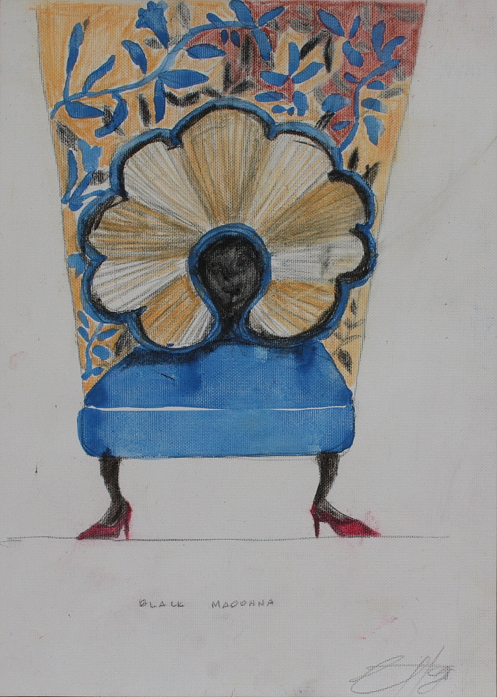 MADONNA OF THE THRONE   mixed media on paper, 24x34cm