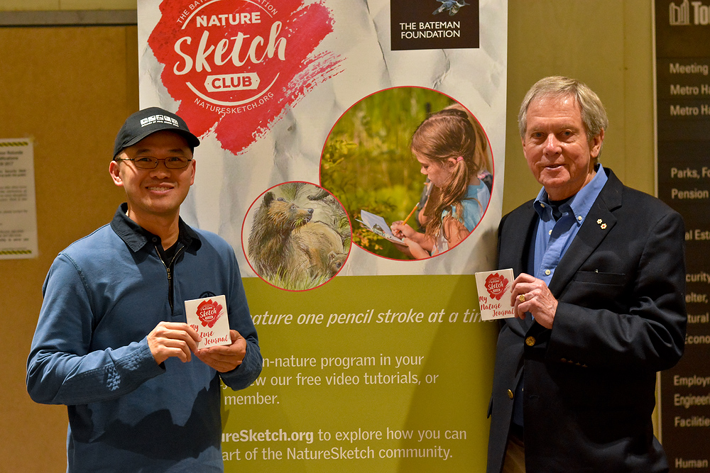 With Robert Bateman at the launch of NatureSketch, October 2017.  Photo: Birgit Freybe Bateman