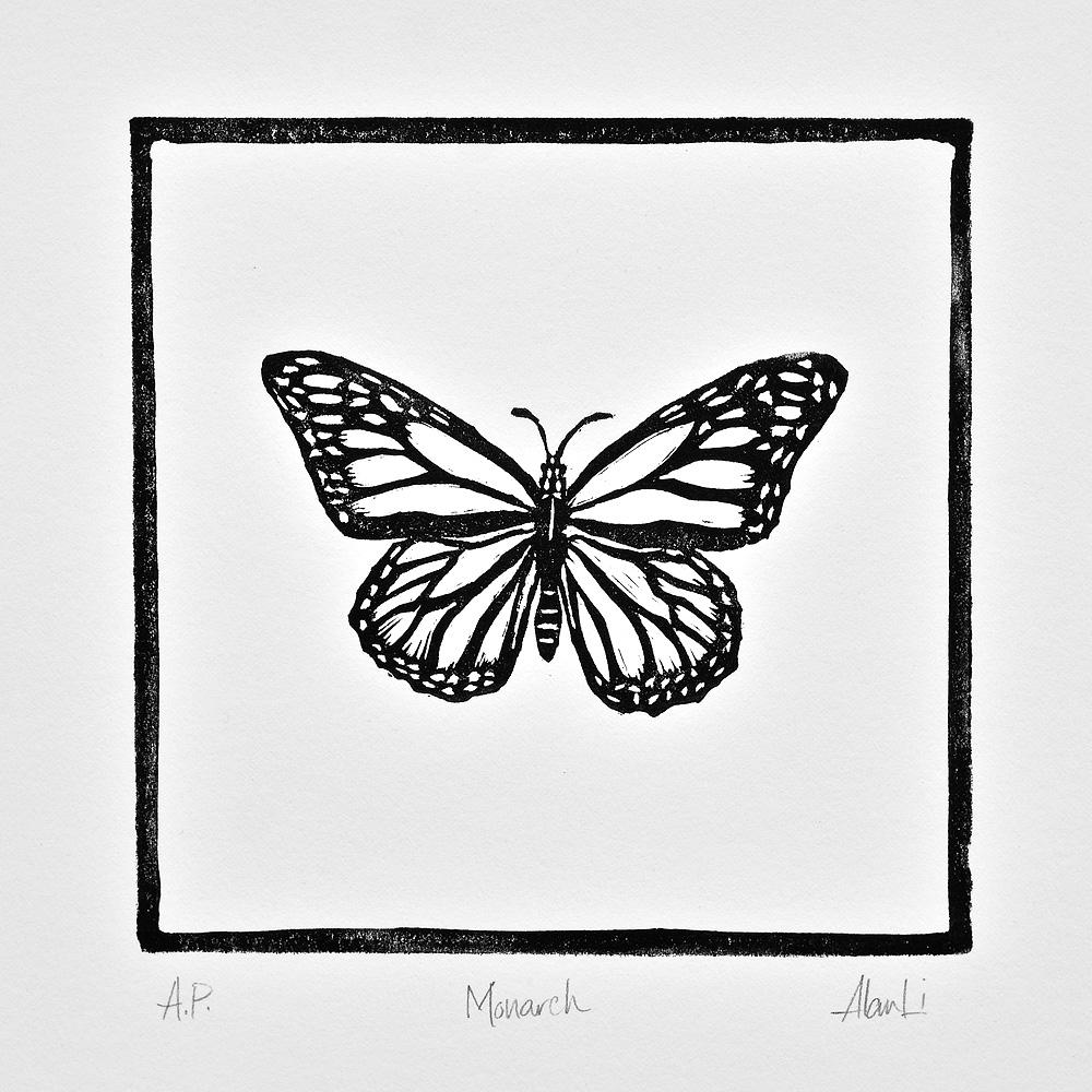 Monarch, Linocut on Stonehenge