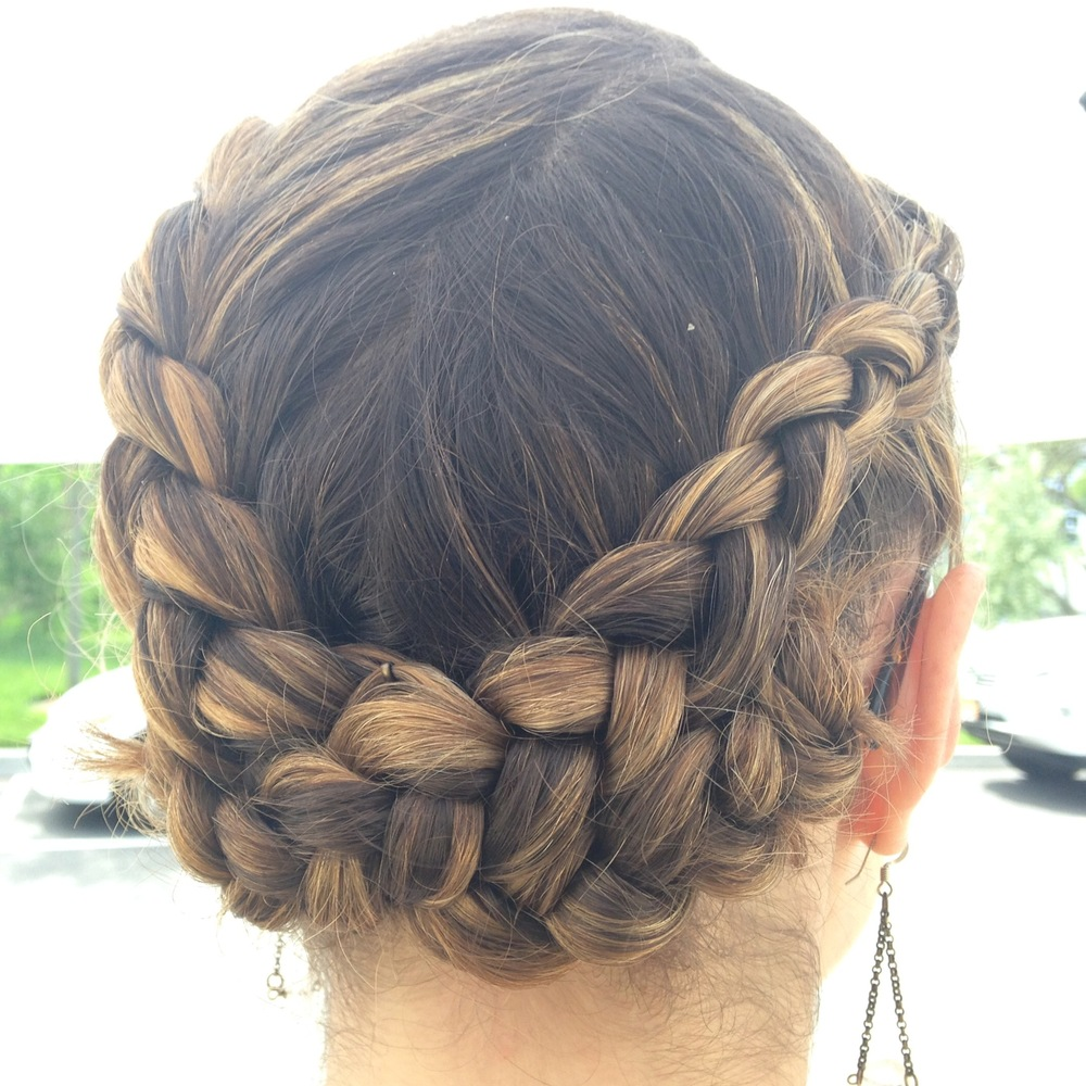 A beautiful braided updo styled by Faith