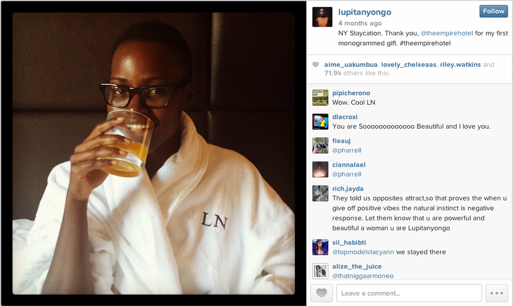 Oscar winner Lupita Nyong'o shares a glimpse of herself without makeup on Instagram