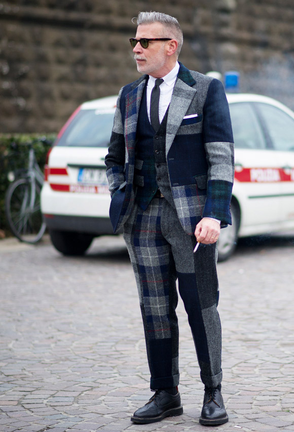 A sharp, 3-piece blue and grey plaid wool suit. Photo fromhttp://redthreadsstyle.blogspot.com/