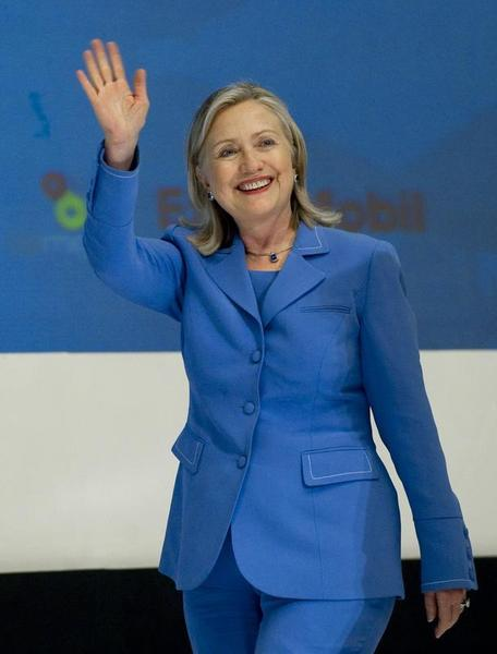 Hilary Clinton's signature power suit. Photo by www.forbes.com