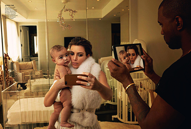 "In this shot by Annie Leibovitz for Vogue's April 2014 edition, Kanye West photographs Kim Kardashian taking a selfie with their daughter, North West. Kim is due to release a book of personal selfies entitled ""Selfish"" this spring. Photo from: http://rebeccahowden.com.au/"
