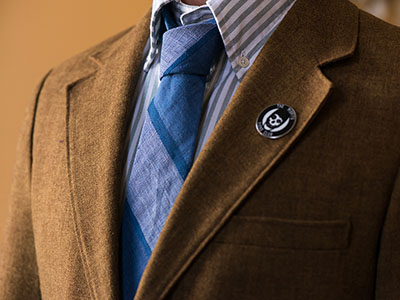 The blue duder striped tie by Jacques-Elliott.