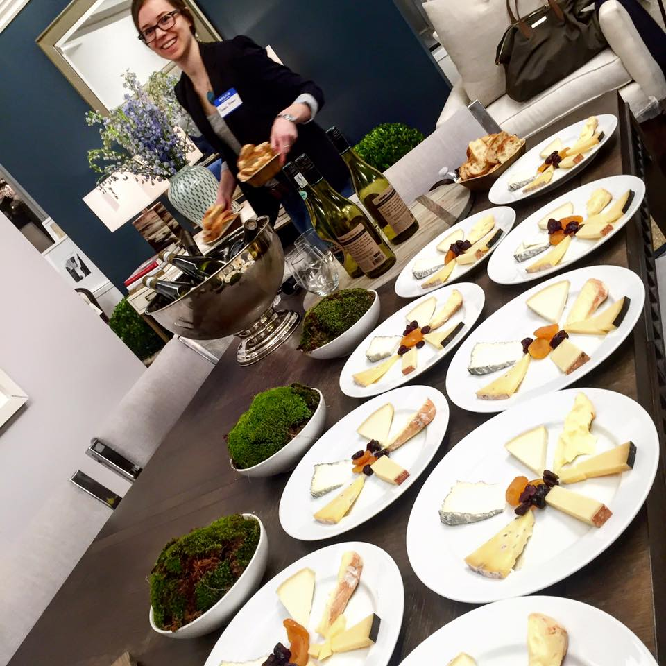 Wine and cheese spread at Sisley SDS event