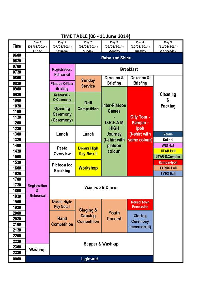 The latest Pesta 2014 schedule at 8th May 2014
