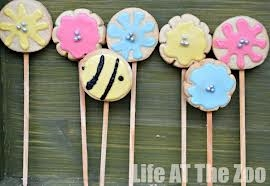 Lollipops? Ideas from http://lifeatthezoo.com/2013/01/spring-cookies/