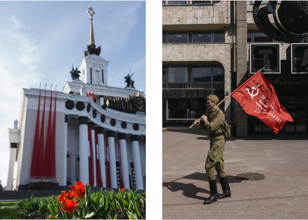 Les symboles sont importants en ce jour de célébration. Les bâtiments se parent de couleurs officielles et les hommes vêtissent les uniformes traditionnels symbolisant l'époque de l'URSS et brandissent les drapeaux anniversaires.