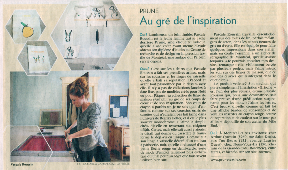Article La presse, 29 Mars 2014