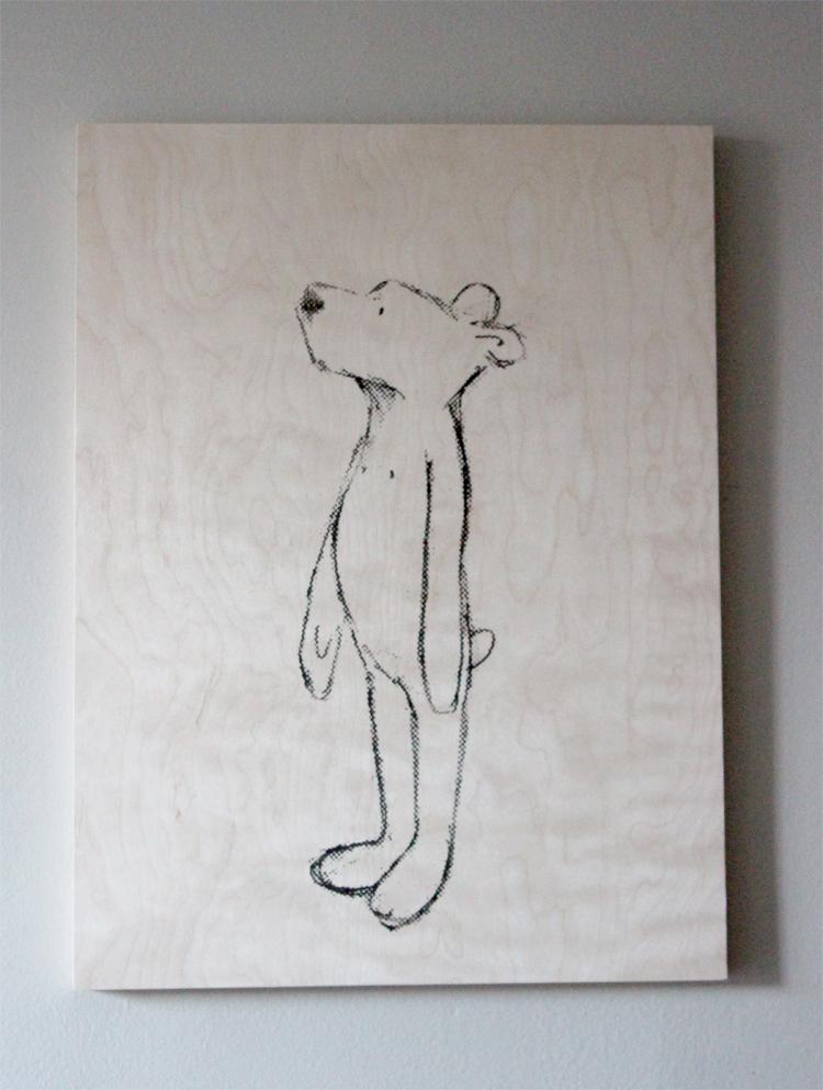 Petit ours Prune sérigraphie sur bois