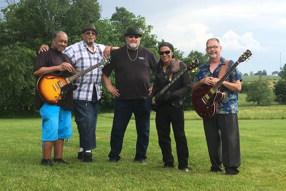 """From L to R: Melvin Bell, Michael """"Honeycomb"""" Henighan, Keith Davis, Doyle Weber and Rob Gundry."""