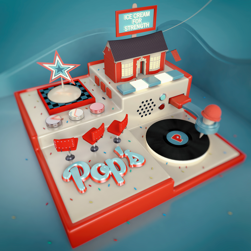 Pop's Ice Cream - 3D Illustration