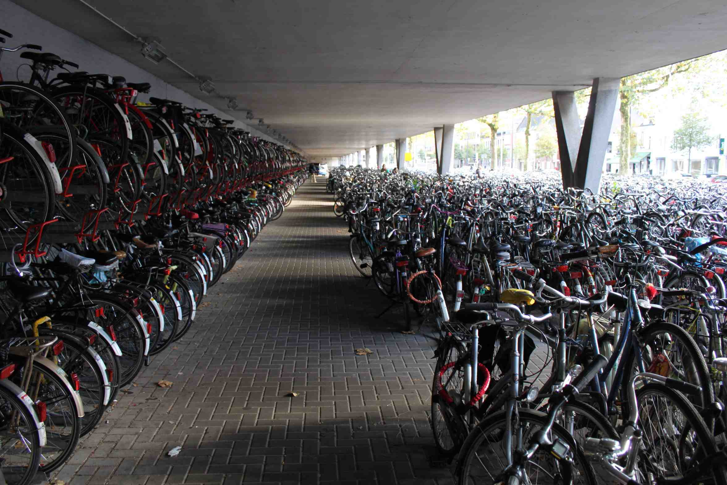 Bicycles outside of the main Tilburg train station