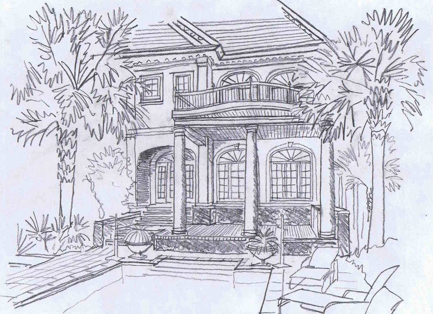 Rear elevation study of Kiawah Island residence rendered on Friday.