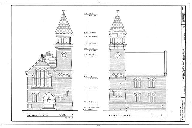 Elevations of Memorial Hall, William Enston House. Source: Library of Congress