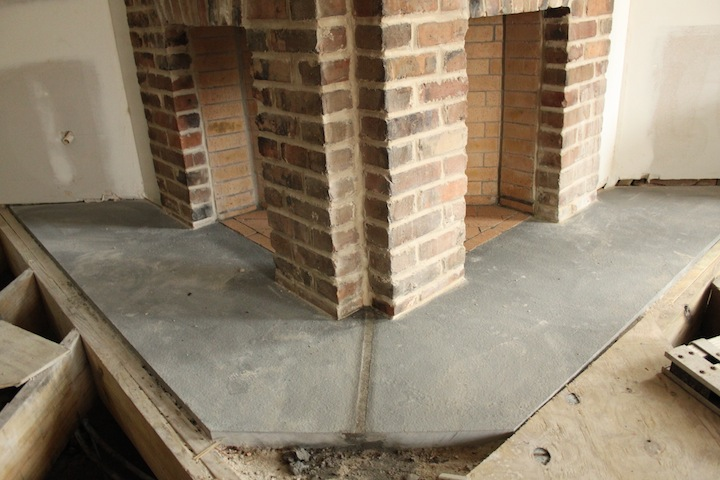 New bluestone flush hearths installed at renovated first floor fireplace