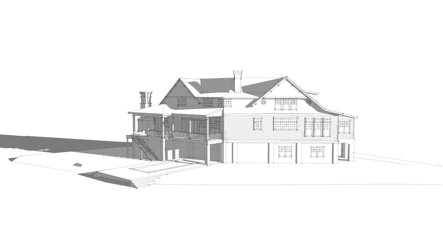 Northwest elevation, with master bedroom having commending views of the marsh and river from the first level. Rendering: Harrison Wallace for Tyler A. Smyth Architect, LLC