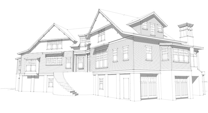 New Mt. Pleasant residence from south east. Rendering: Harrison Wallace for Tyler A. Smyth Architect, LLC