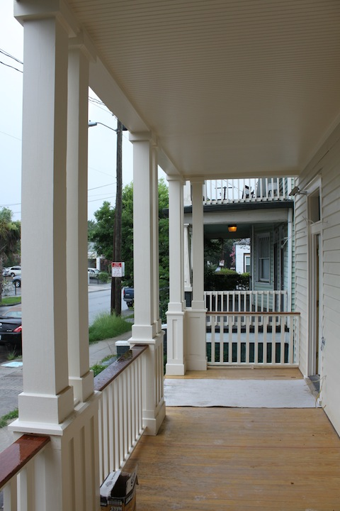 It was necessary to completely rebuild both levels of porches from the foundation up to the roof structure and tern metal roofing, which was refurbished.